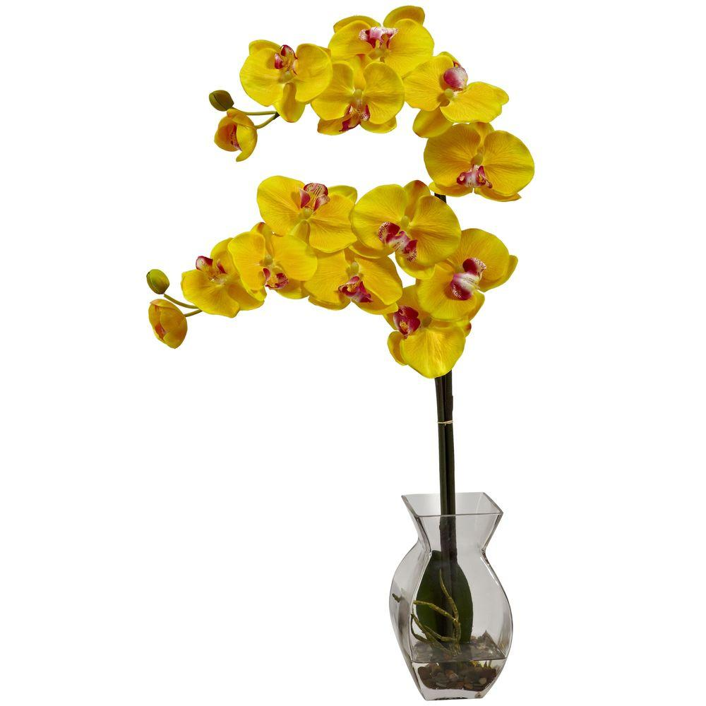Nearly Natural Phalaenopsis Orchid With Vase Arrangement In Yellow