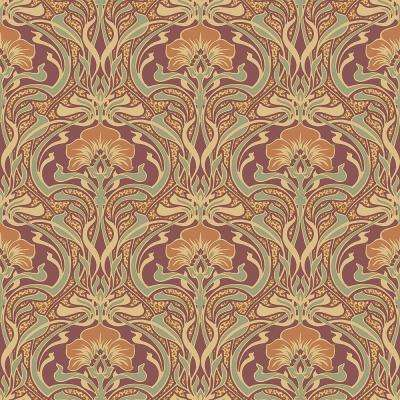 8 in. x 10 in. Donovan Burnt Sienna Nouveau Floral Sample
