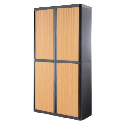 Paperflow easyOffice Storage Cabinet, 80 in. Tall with 4-Shelves, Charcoal and Beech