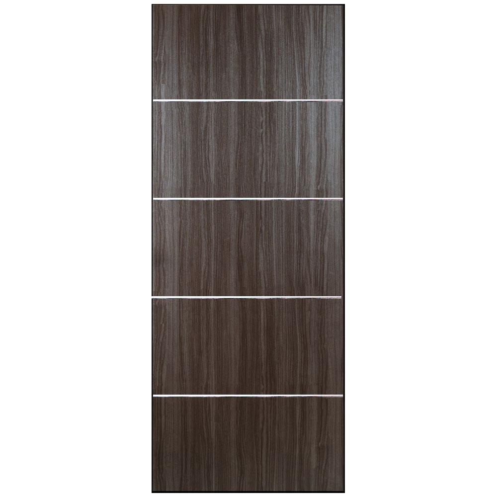 36 in. x 80 in. Grey Oak Finish Woodgrain with Metal Strips Flush Solid Core Composite Interior Door Slab
