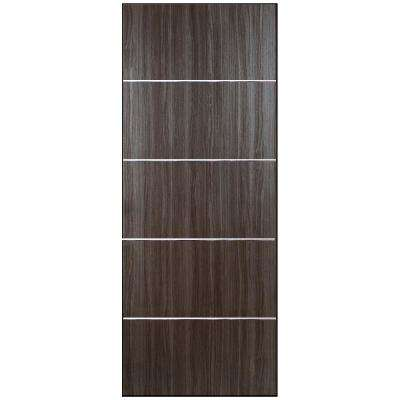 32 in. x 80 in. Grey Oak Finished with Metal Strips Solid Core Composite Interior Door Slab