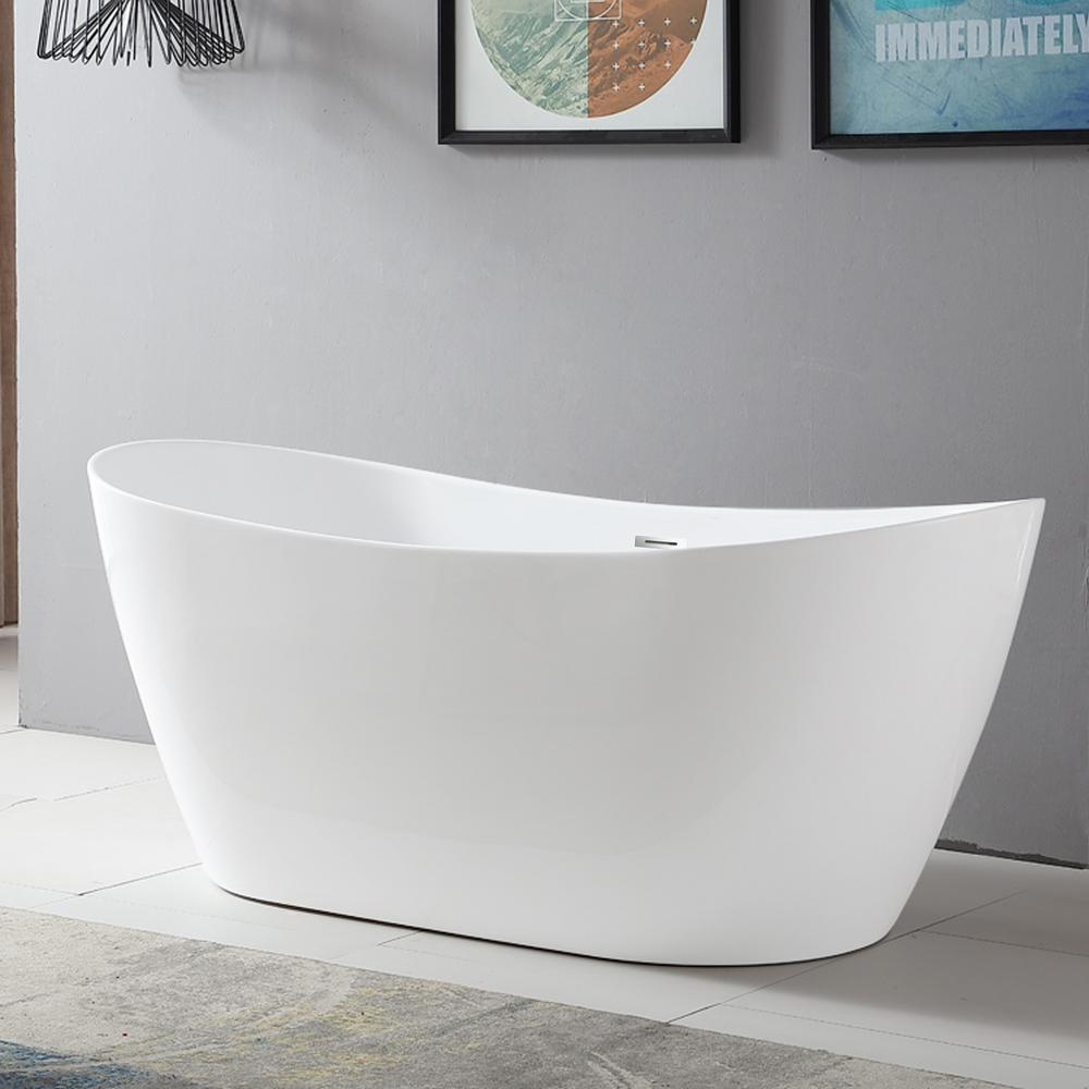 Vanity Art Mulhouse 71 in. Acrylic Flatbottom Freestanding Bathtub in White