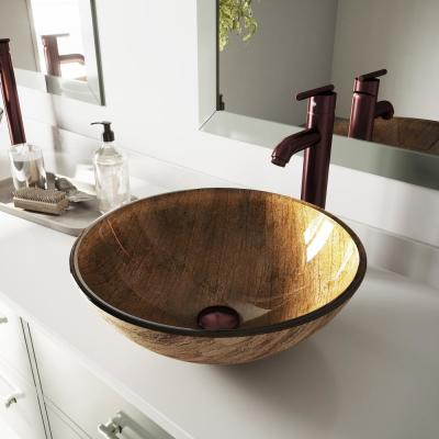 Amber Sunset Vessel Bathroom Sink in Multicolor with Faucet in Oil Rubbed Bronze
