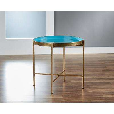 Large Gild Pop Up Blue Tray Table