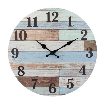 Coastal Worn Blue and White Wooden Wall Clock