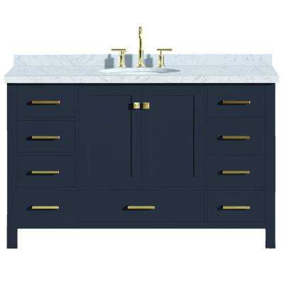 Cambridge 55 in. W x 22 in. D Vanity in Midnight Blue with Marble Vanity Top in Carrara White with White Basin