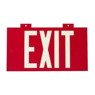 8 in. x 15 in. Glow-in-the-Dark Self-Stick Polyester Framed Red Exit Sign