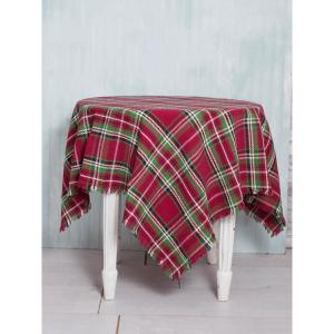 54 in. x 54 in. Merry Christmas Tartan Plaid Tablecloth