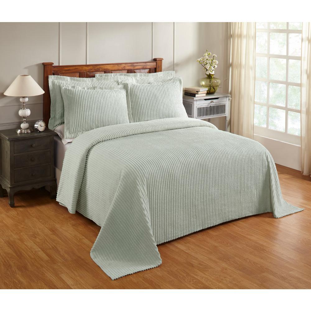 Aspen 81 in. x 110 in. Sage Twin Bedspread