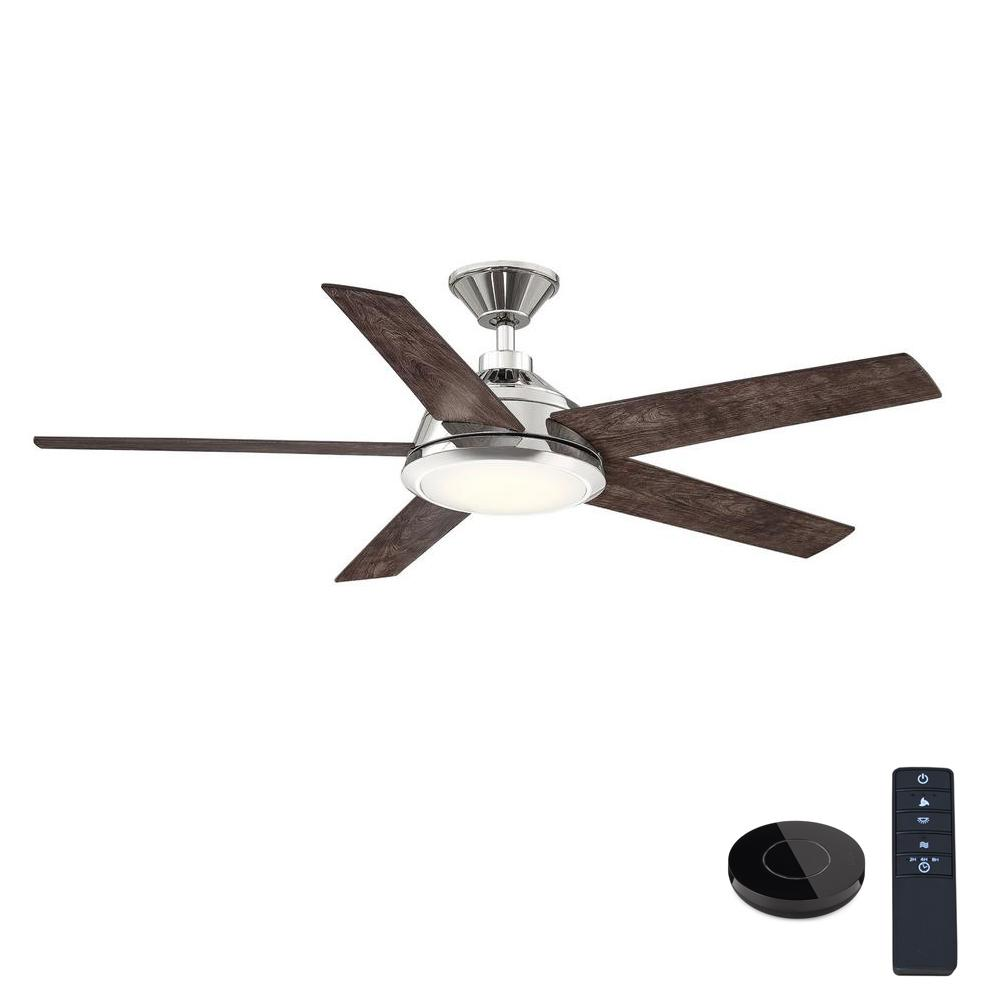 Home Decorators Collection Haverbrook 52 in. LED Polished Nickel Ceiling Fan with Light and Remote Control works with Google and Alexa