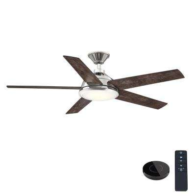 Haverbrook 52 in. LED Polished Nickel Ceiling Fan with Light and Remote Control works with Google and Alexa