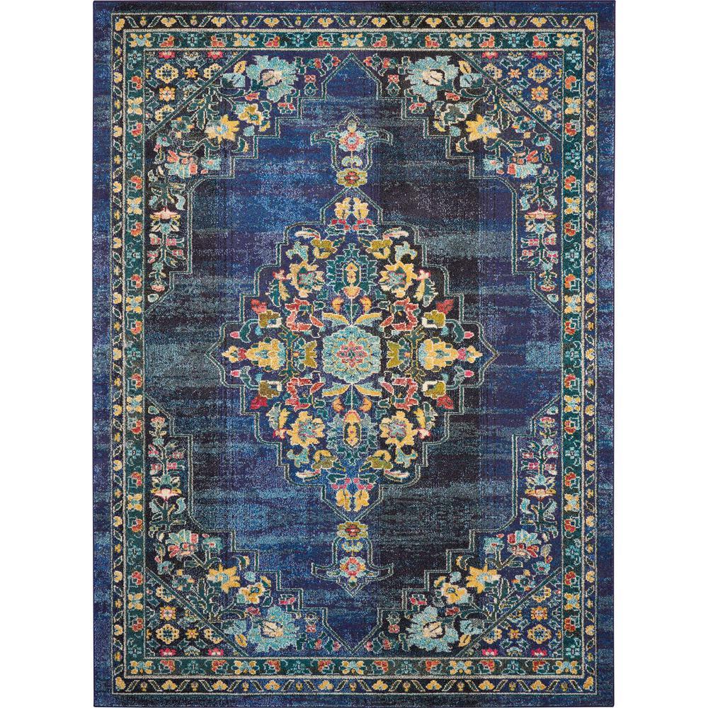 Passionate 9' x 12' Dark Blue Multicolor Kashan Area Rug