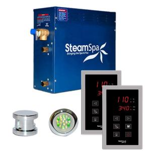 SteamSpa Royal 7.5kW Touch Pad Steam Bath Generator Package in Chrome by SteamSpa