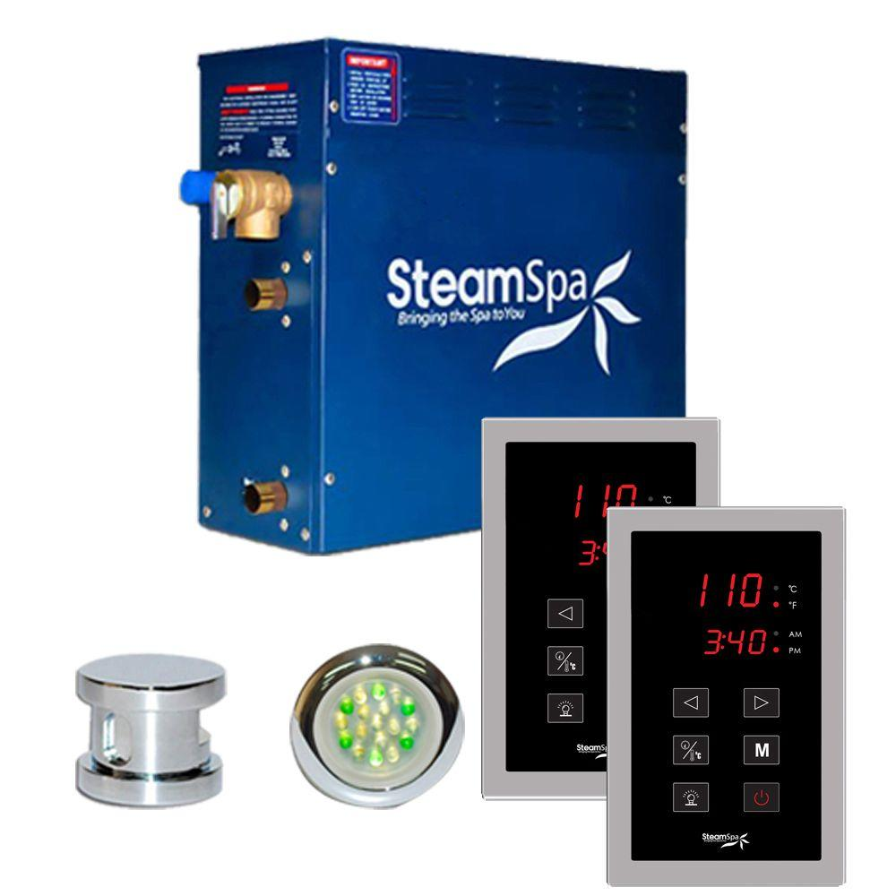 SteamSpa Royal 9kW Touch Pad Steam Bath Generator Package in Chrome