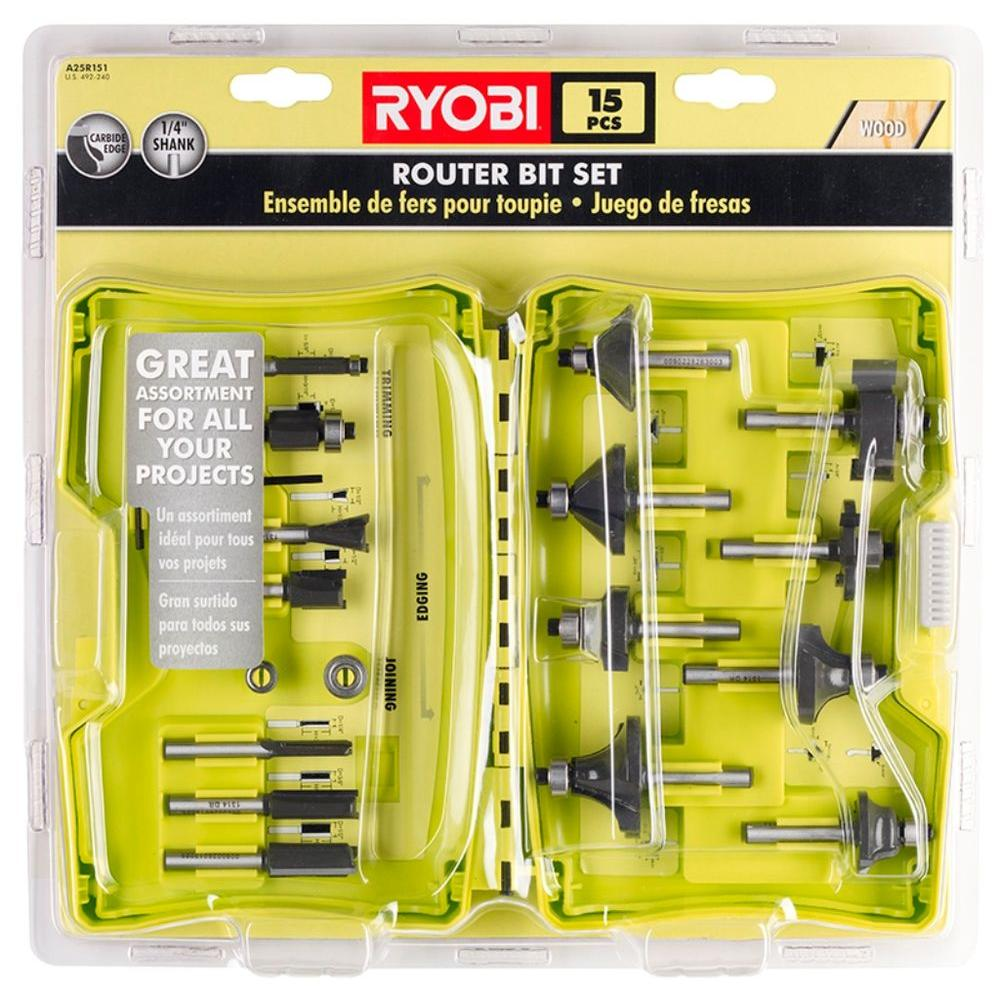 ryobi router bit set 15 piece a25r151 the home depot. Black Bedroom Furniture Sets. Home Design Ideas