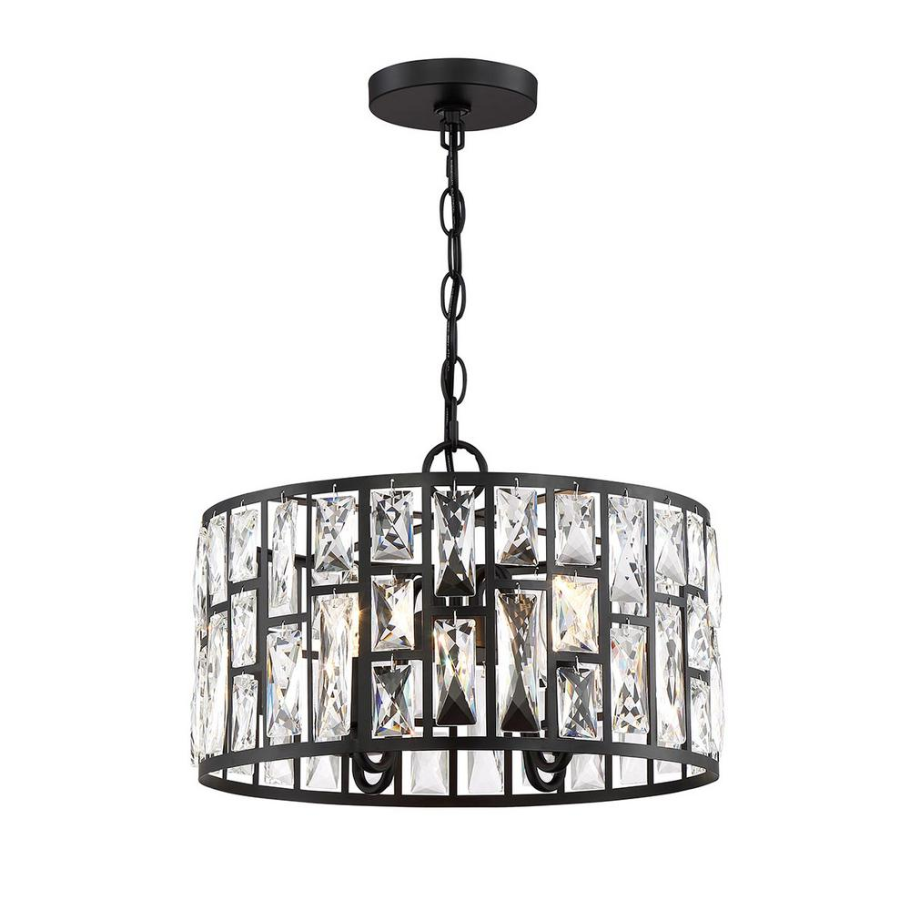 Home Decorators Collection Home Decorators Collection Kristella 4-Light Matte Black Chandelier with Clear Crystal Shade