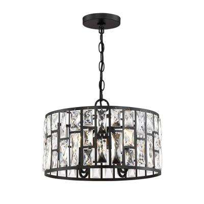 Kristella 4-Light Matte Black Chandelier with Clear Crystal Shade