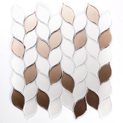 Musico Soleil Brown Leaf Deco Mosaic 1 in. x 3 in. Glass Wall Tile (10.8 Sq. ft./Case)