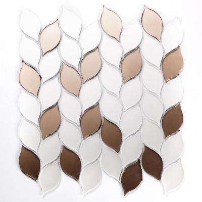 Mosaic 1 in. x 3 in. Leaf Brown White Glass Peel and Stick Decorative Bathroom Wall Tile Backsplash (14.04 Sq. ft./Case)