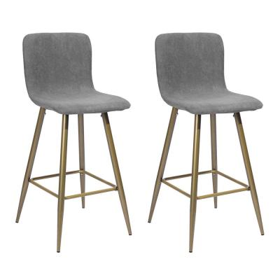 39.8 in. Dark Grey and Golden Fabric Cushion Footrest Height Counter Bar Stool with Golden Metal Legs (Set of 2)