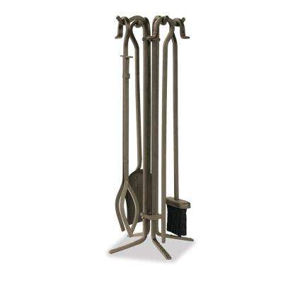 Bronze 5-Piece Fireplace Tool Set with Crook Handles