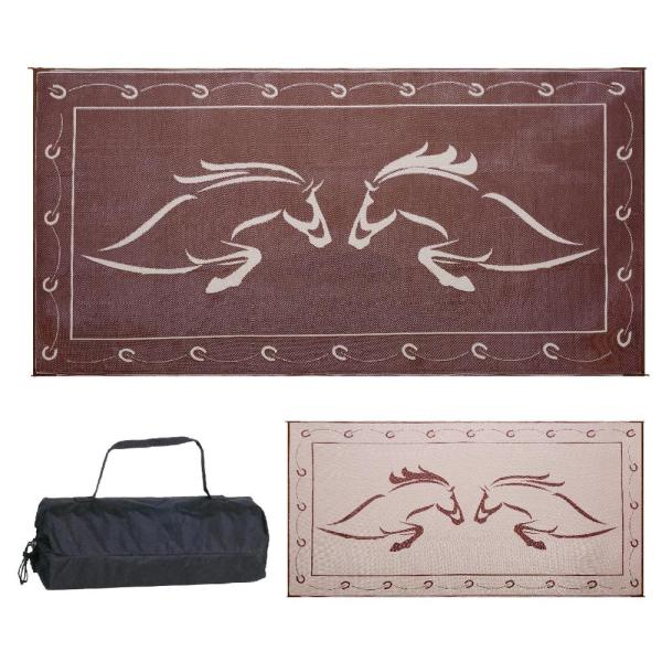 9 ft. x 12 ft. Reversible Mat - Running Horse Brown/Beige