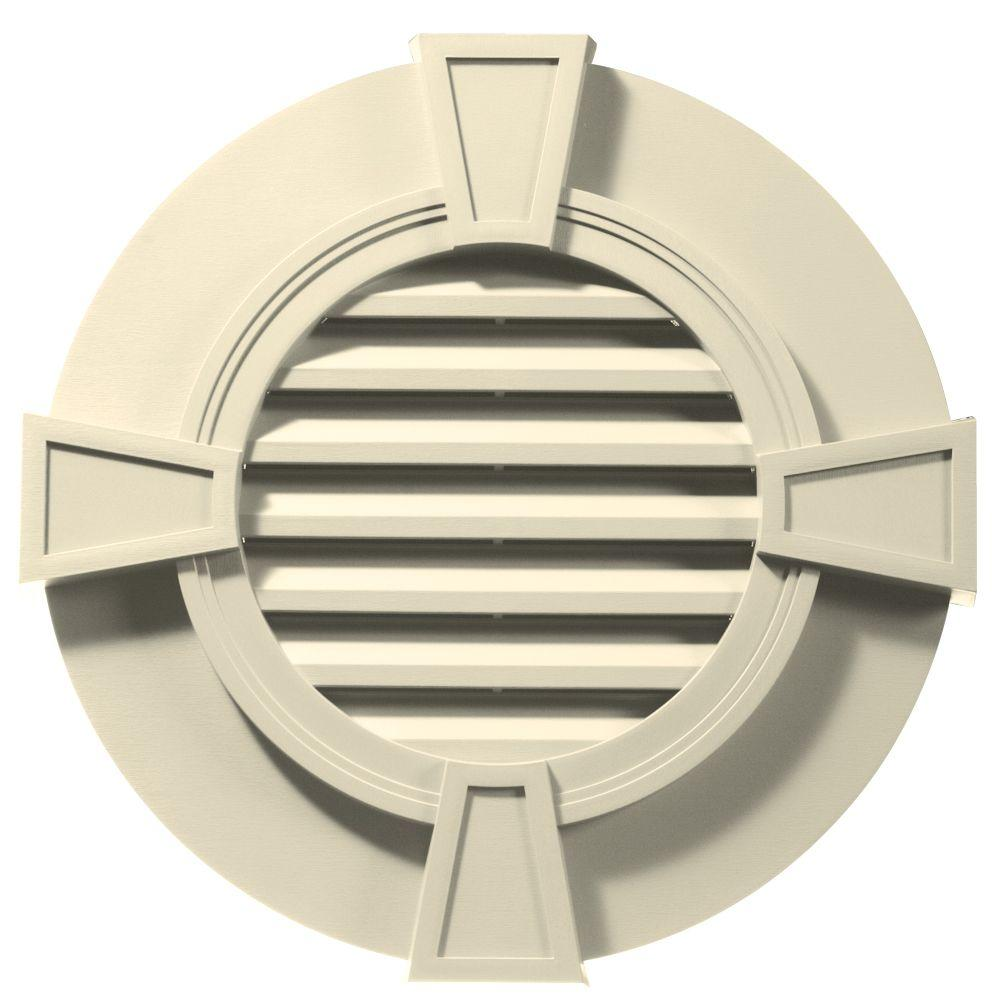 Builders Edge 30 in. Round Gable Vent with Keystones in Cream