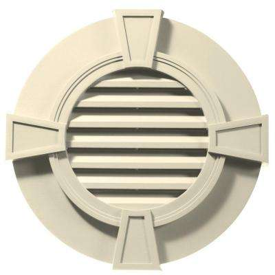 30 in. Round Gable Vent with Keystones in Cream