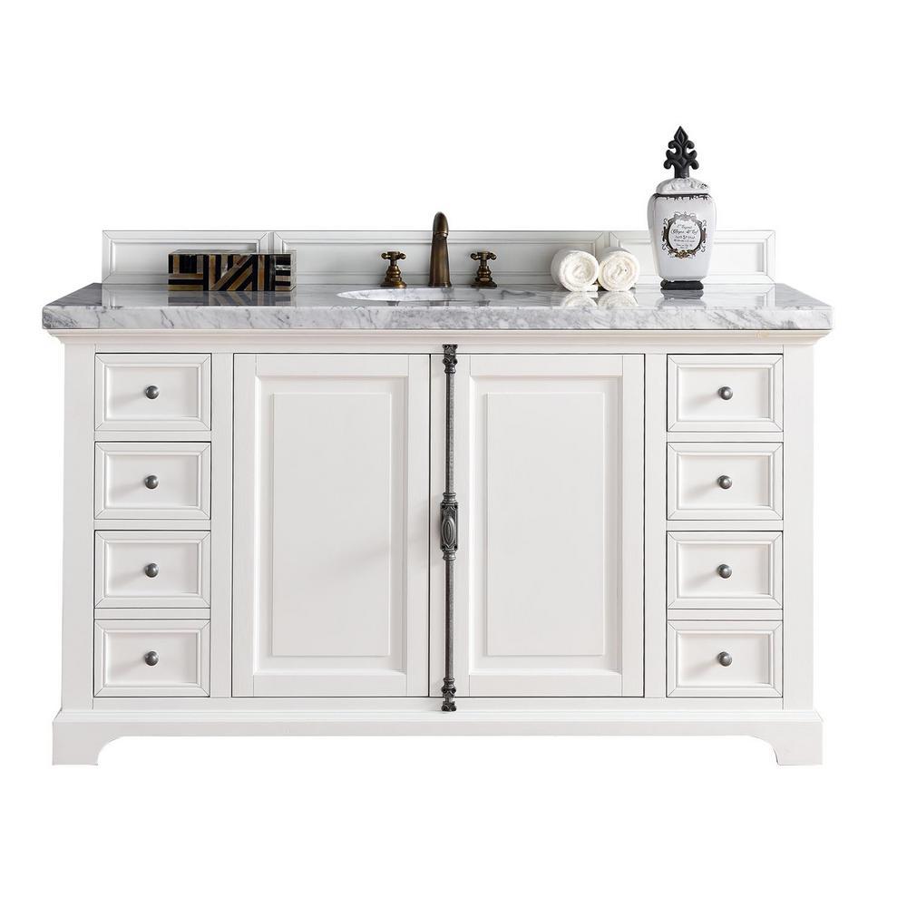 Providence 60 in. W Single Vanity in Cottage White with Marble Vanity Top in Carrara White with White Basin