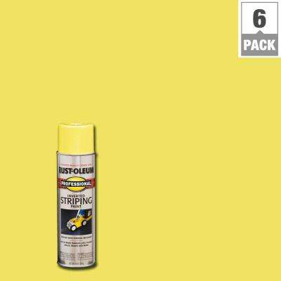 18 oz. Flat Yellow Inverted Striping Spray Paint (6-Pack)