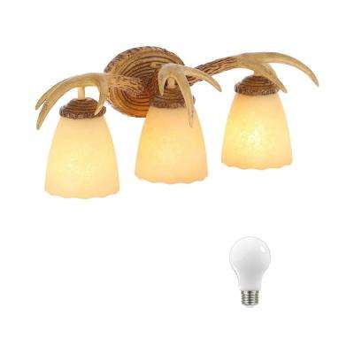 3-Light Natural Antler Vanity Light with Sunset Glass Shades, Dimmable LED Soft White Bulbs Included