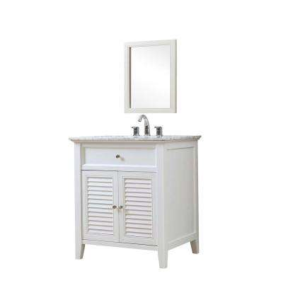 Shutter 32 in. Vanity in White with Marble Vanity Top in White Carrara with White Basin and Mirror