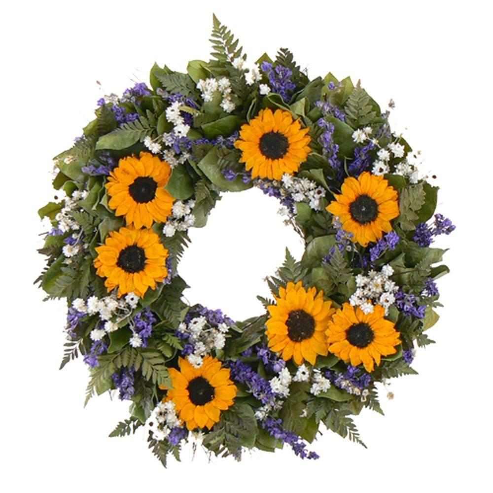 The Christmas Tree Company Sunflower Wingding 20 in. Dried Floral Wreath-DISCONTINUED