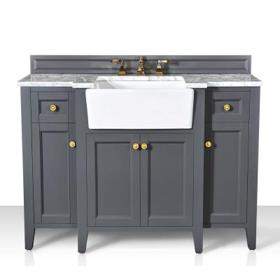 Adeline 48 in. W x 20.1 in. D Bath Vanity in Sapphire Gray with Marble Vanity Top in Carrara White with White Basin