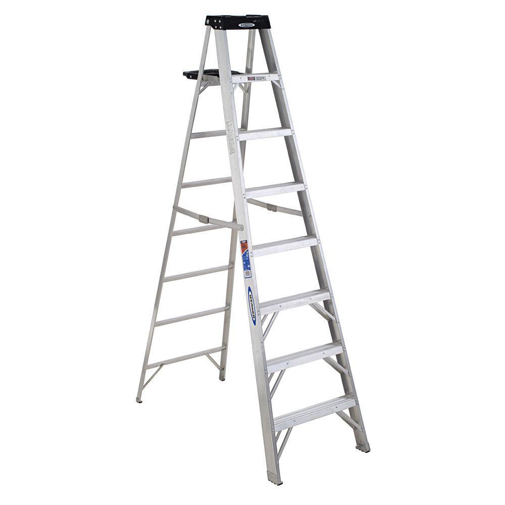werner 8 ft aluminum step ladder with 300 lb load capacity type ia 378 the home depot. Black Bedroom Furniture Sets. Home Design Ideas