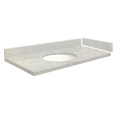 Transolid 61 25 In W X 22 25 In D Quartz Vanity Top In Almond Delite With Single Hole White Basin Vt61 25x22 1ou 4n A W 1 The Home Depot
