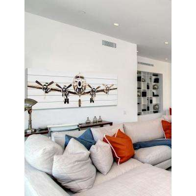 "20 in. H x 60 in. W ""Airplane"" by Marmont Hill Printed White Wood Wall Art"