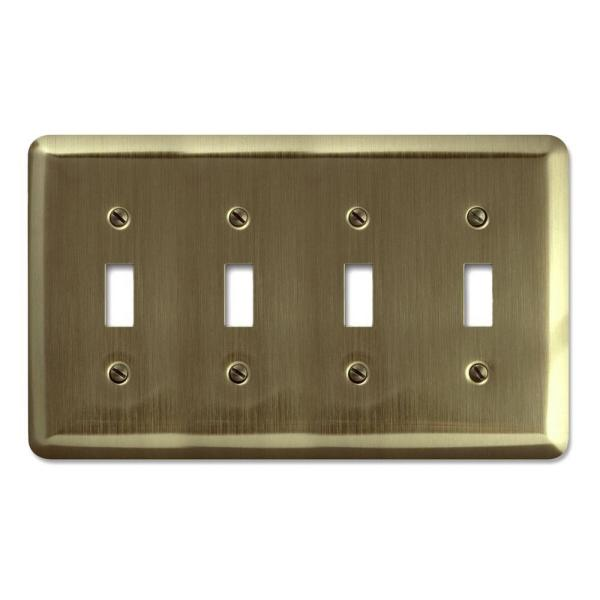 Amerelle Brass 4 Gang Toggle Wall Plate 1 Pack 154t4 The Home Depot