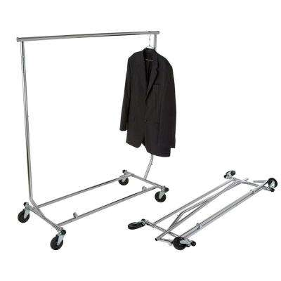 "Heavy Duty Folding Commercial Grade Rolling Rack 55""H x 48"" W x 24"" D"