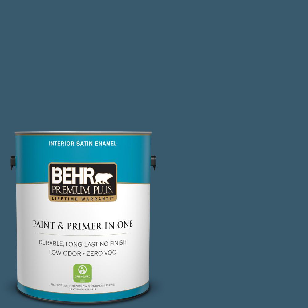 1-gal. #550F-7 Blue Spell Zero VOC Satin Enamel Interior Paint