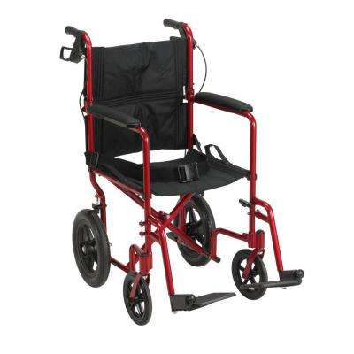 Lightweight Expedition Red Transport Wheelchair with Hand Brakes