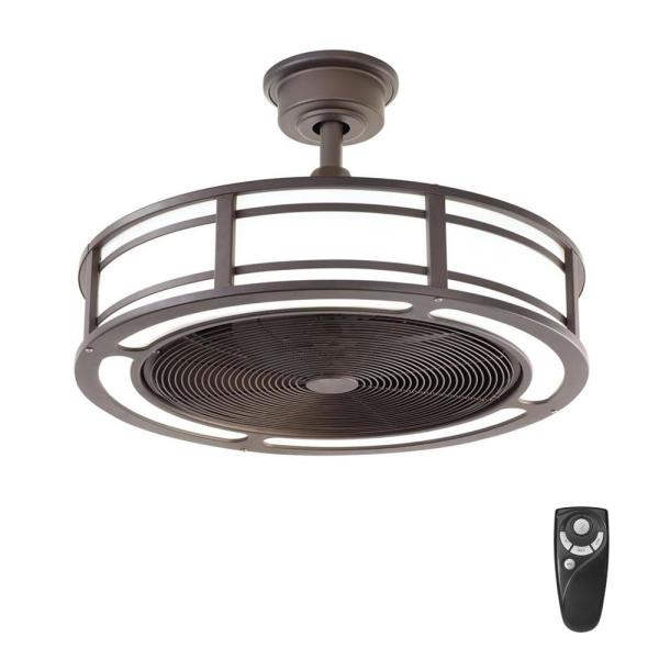 Brette II 23 in. LED Indoor/Outdoor Espresso Bronze Ceiling Fan with Light and Remote Control