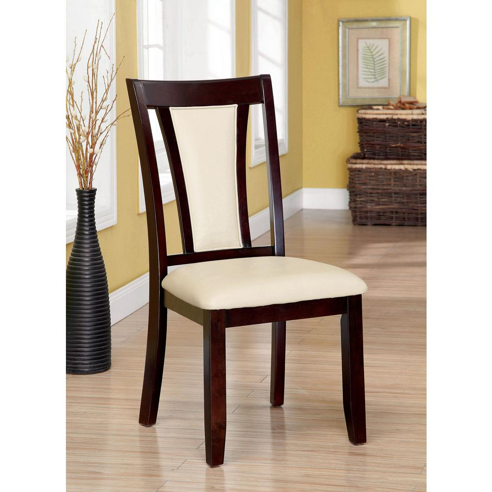 Unbranded Brent Dark Cherry And Ivory Transitional Style Side Chair Cm3984sc 2pk The Home Depot