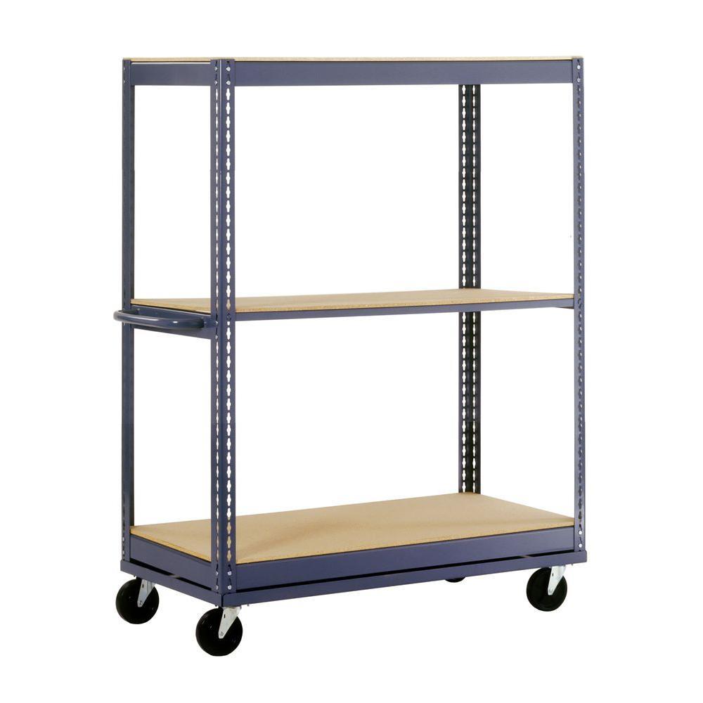 54 in. H x 36 in. W x 24 in. D 3-Shelf Mobile Steel Commercial Shelving Unit in Gray