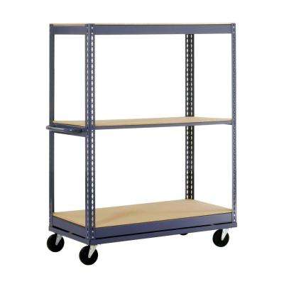 54 in. H x 36 in. W x 24 in. D 3-Shelf Mobile Steel Commercial Shelving Unit in Gray