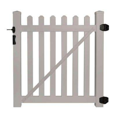 Cheyenne 4 ft. W x 4 ft. H Tan Vinyl Picket Fence Gate EZ Pack