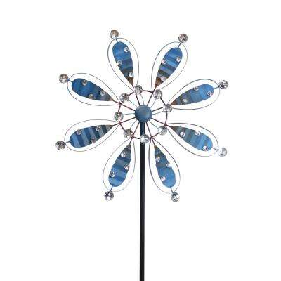 84 in. Blue Metal Flower Garden Stake