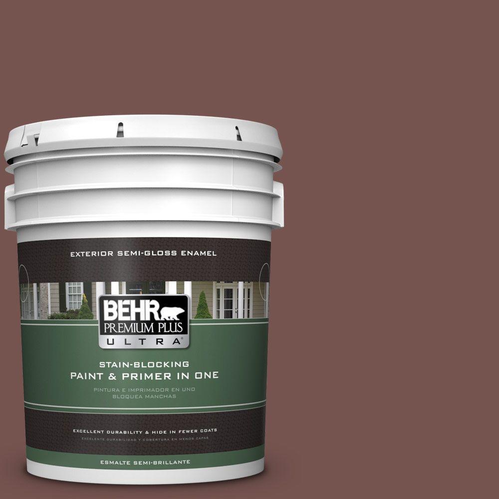 5-gal. #PPU2-20 Oxblood Semi-Gloss Enamel Exterior Paint