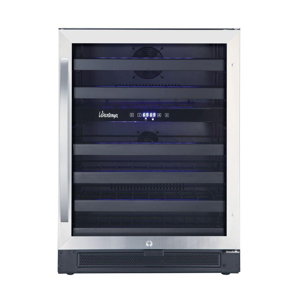 Vinotemp 46-Bottle Dual-Zone Wine Cooler in Black and Stainless-VT ...