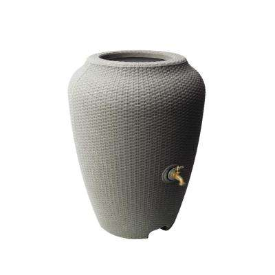 Wicker 50 Gal. Rain Barrel Taupestone
